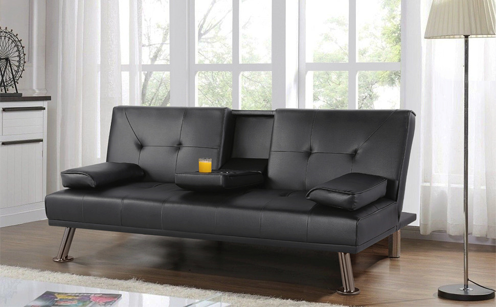 Amazon.com: Yaheetech Futon Sofa Bed, Modern Faux Leather ...