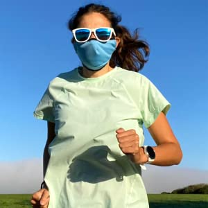 running exercise fitness face mask cooling blue