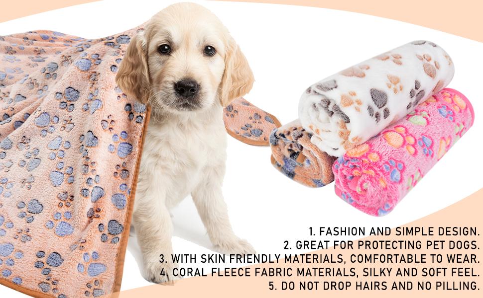 Cani e Gatti PS016 PET SPPTIES 3 Pezzi Caldo Morbido Coperte in Morbido Pile per Cucciolo,Animali Domestici 60cmx40cm, 3PCS Beige