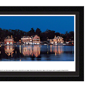 Boat House Row at night with select frame