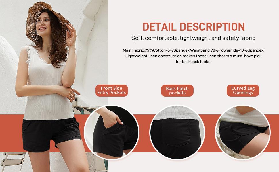 Maternity Casual Shorts Ruffle Hem Elastic Waist Cotton Linen Shorts with Pockets