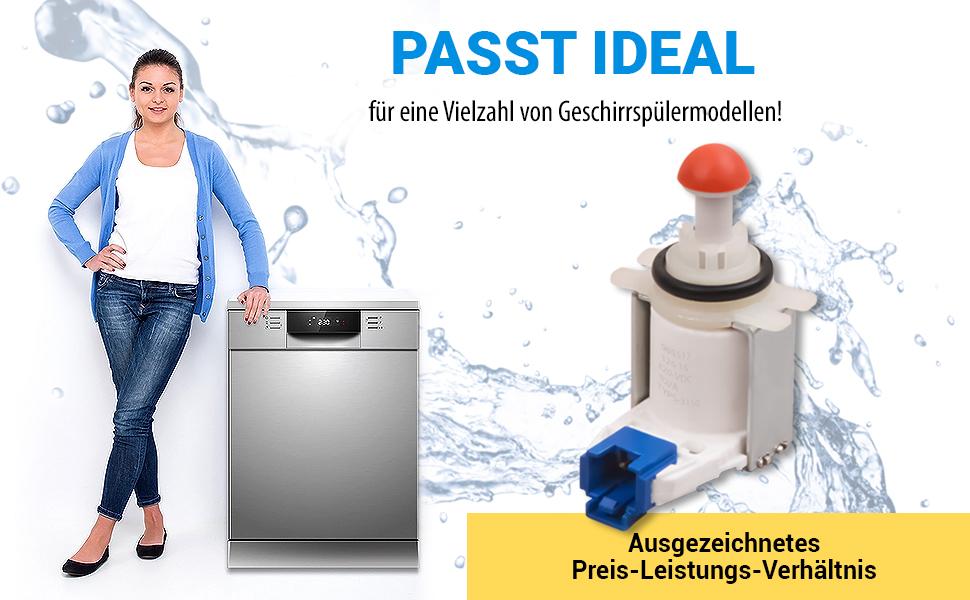 Ventil Magnetventil Ablaufventil f/ür Wassertasche in Sp/ülmaschine//Fehler E19// passend wie Bosch 00631199 Neff Gaggenau K/üppersbusch Balay