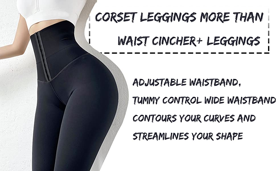 Waist Corset Cincher Triple Adjustment waist trainer Buttery-soft compression leggings