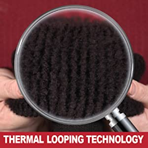 Closeup magnification of the fibers inside shows the thermal loops.Fluffy and soft inside the socks.