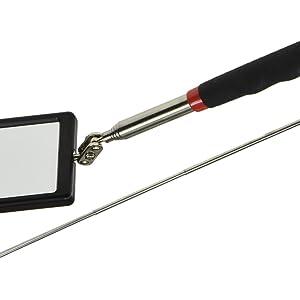 2-fach Kugelgelenk Ultraflacher Teleskop-Spiegel rutschfester Softgriff ausziehbar bis 70cm