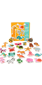 Toddler Wooden Toys Jigsaw 22 pcs Fruit Vegetable Animal Traffic Matching Puzzle for Kids 3-6 Years