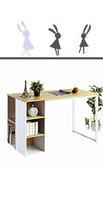 Brownamp; white computer writing desk shelf
