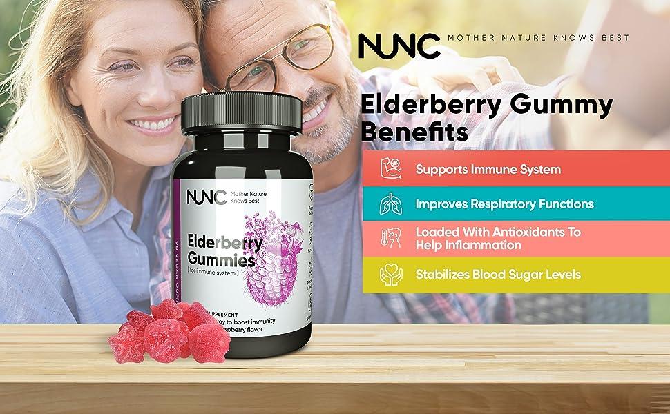 Nunc Elderberry Gummy Benefits, Supports Immune System, Improves Respiratory Functions, Blood Sugar