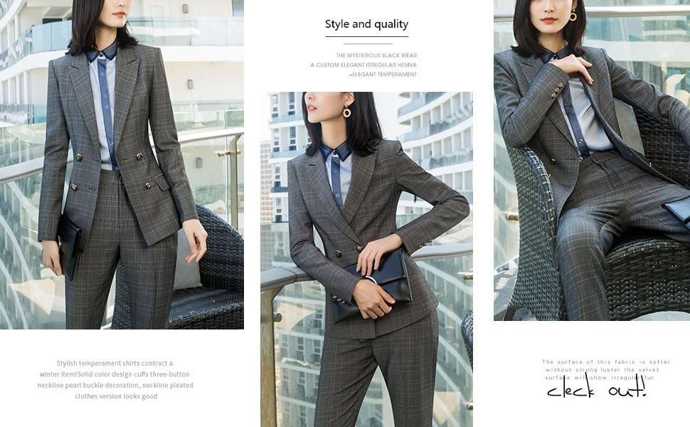 plaid women blazer suits