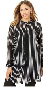 Plus Size Striped Top Blouse