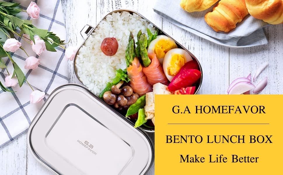 Stainless Steel Lunch Box, Ga HOMEFAVOR Metal Bento Box 1400ml Food Container with Lock Clips for Kids, School, Office, Work, Camping
