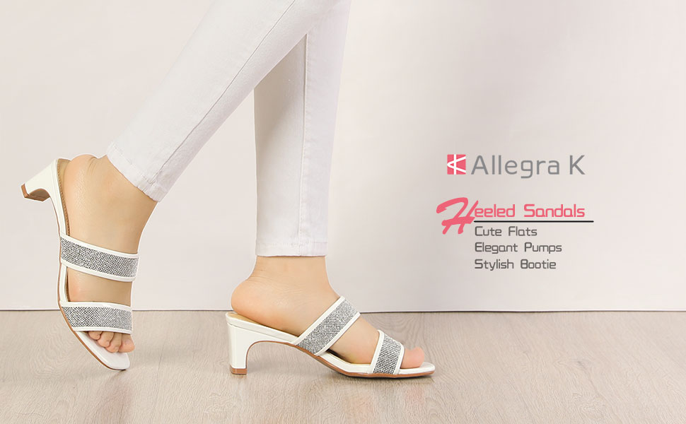 Allegra K Women's Rhinestone Square Toe Block Heel Slide Sandals