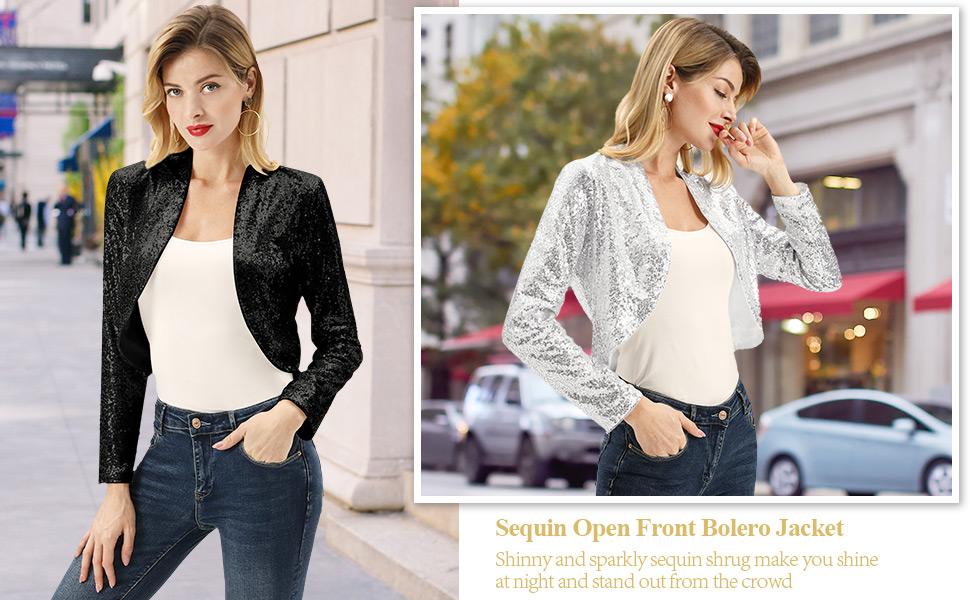 KANCY KOLE Women's Sequin Shrug Long Sleeve Open Front Cropped Bolero Jacket S-XXL