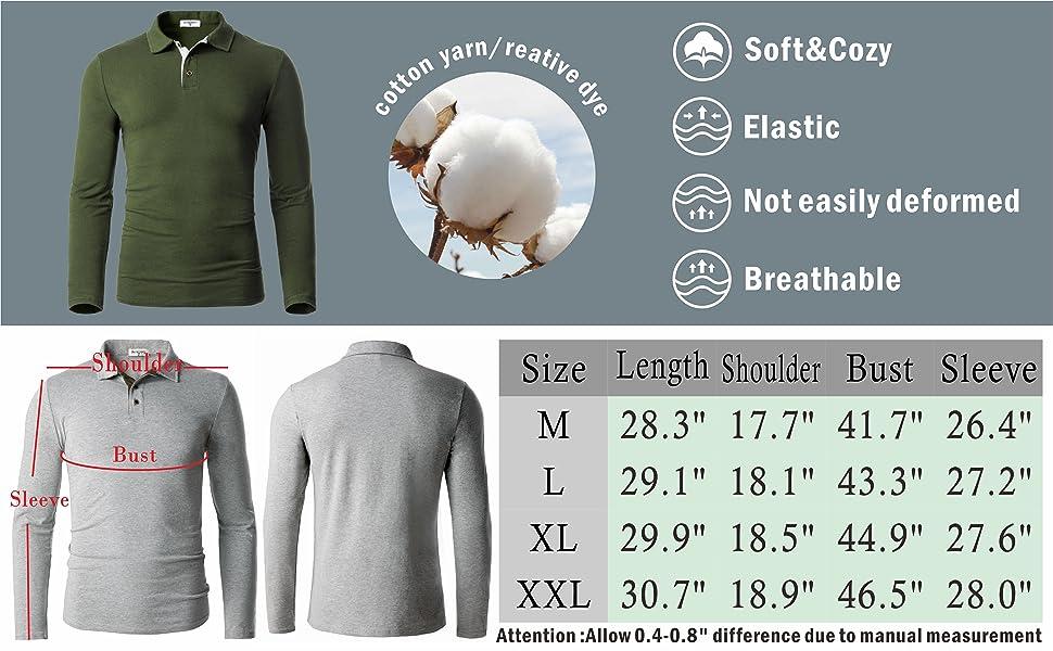 size chart golf t-shirt
