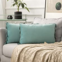 light water green tassel pillow covers shams