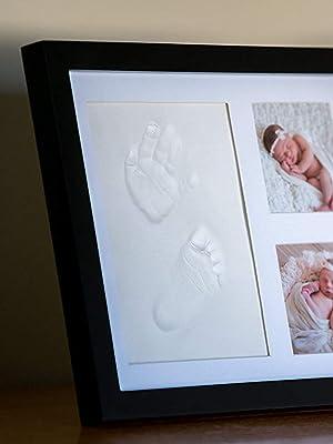 Marco para Fotos y Huellas de Bebé – Cuadro con Arcilla para Modelado de Manos y Pies de Niños y Niñas. Regalo Original para Nacimientos, Bautizos, Cumple Mes, Primer Año y Baby
