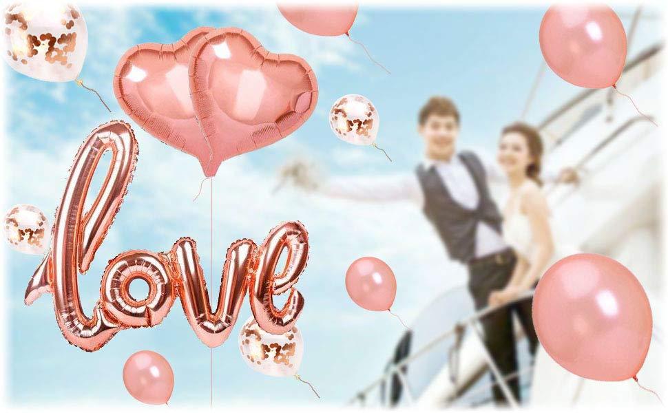 Dr.Kurand 風船 結婚式 誕生日 飾り付け バルーン love 風船ー セットおしゃれ ピンクゴールド ハートバルーン プロポーズ 記念日 風船 (18点セット) お祝い 告白 バレンタイン