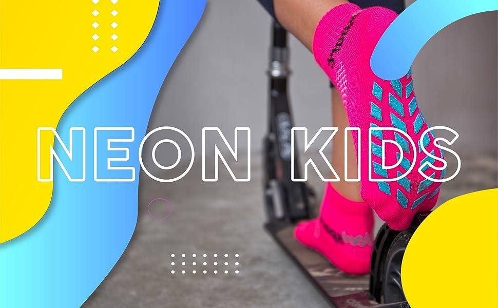 Calzini al neon per bambini con superficie antiscivolo in ABS