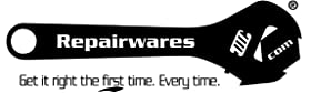 An image of the Repairwares Brand logo. Repariwares: Get it right the first time. Every time.
