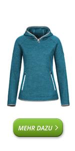 Sudadera con capucha para mujer, de lana merino, con capucha
