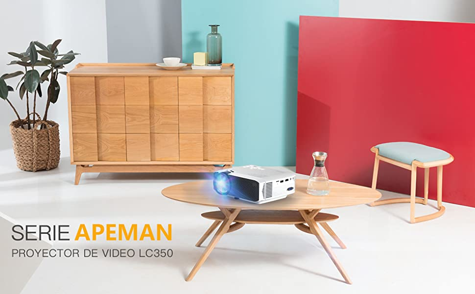 Proyector APEMAN Mini Portátil Proyector de Cine en Casa 3800 Lúmenes Altavoces Duales Incorporados 50000 Horas Soporte HD 1080P HDMI/USB/VGA/AV/Micro ...