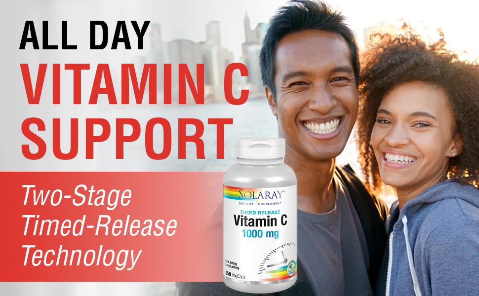 Solaray Vitamin C with Rose Hips & Acerola Two-Stage Timed-Release Formula 1000mg 250 VegCaps