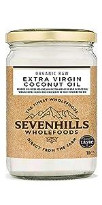 Sevenhills Wholefoods Aceite De Coco Virgen Extra Orgánico, Crudo, Prensado En Frío 1L