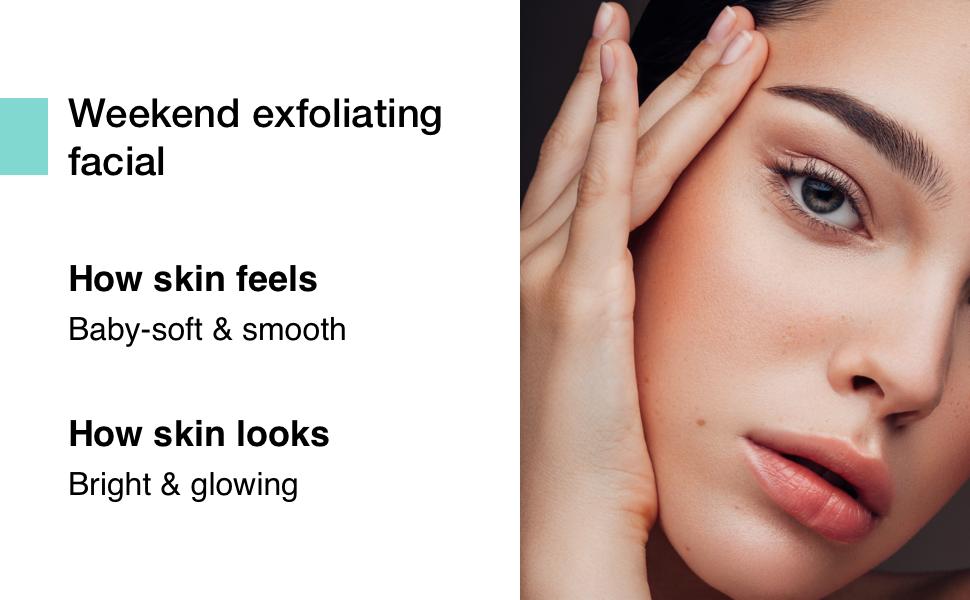 Minimalist weekend exfoliating peeling solution soft even texture skin glowing brightening smooth