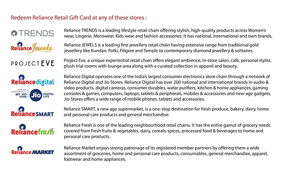 Redeem Reliance Retail Gift Card in Any of These Stores