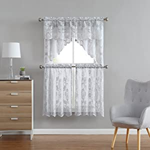 warm home designs curtains panels drapes fiona tier swag rod pocket lace knitted valance sheer swag