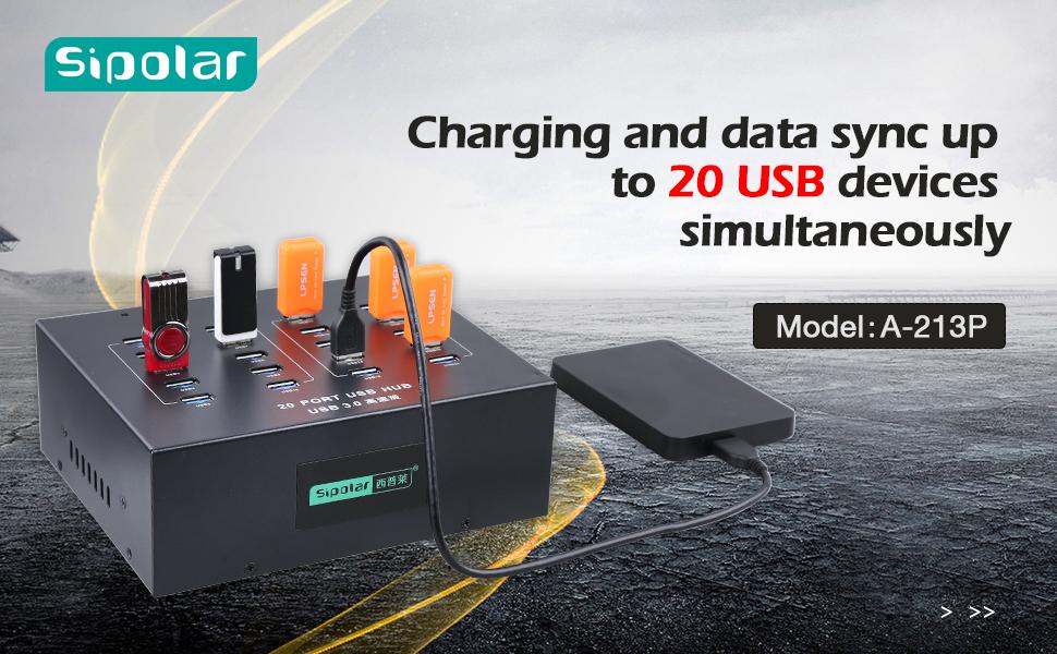 Sipolar 20 Port USB Hub 5V 40 Amp Charging Station