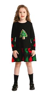 girl black christmas dress