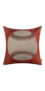 LINKWELL Red Baseball Pillow Cover