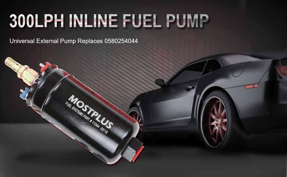 MOSTPLUS 300LPH Universal External Inline Fuel Pump Replaces 0580254044