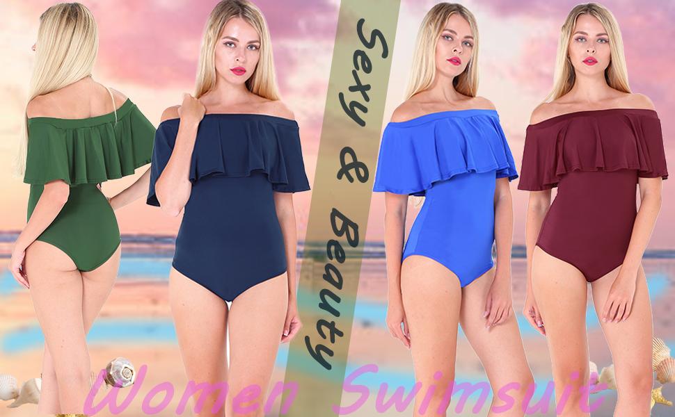 Women Strapless Loose Off-Shoulder One-piece Swimwear Bathers Swimsuit Beachwear