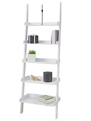 Deuba Estantería Estante tipo escalera Librero de madera Blanco 180x64x37cm almacenamiento para baño cocina sala de estar: Amazon.es: Hogar