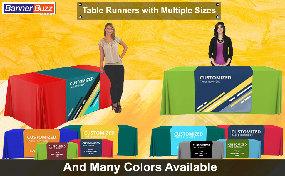 multi color custom table runner banner trade show advertising display table cloth cover size