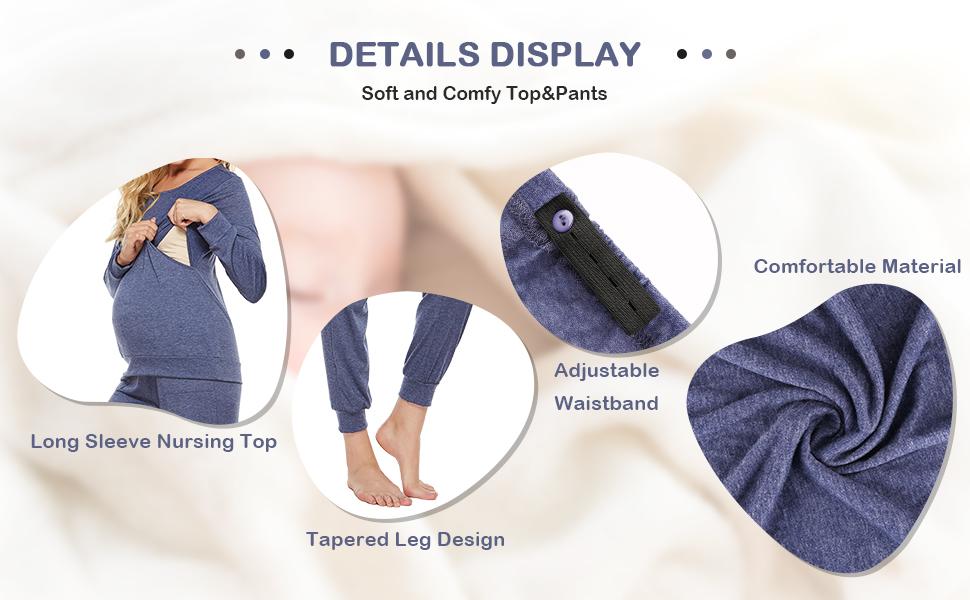 Pregnancy Breastfeeding Hospital Pants Sleepwear Set