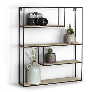 LIFA LIVING Wandregal aus Holz & schwarzem Metall mit 4