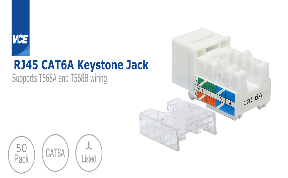 Amazon.com: VCE 50 Pack UL Listed Cat6A RJ45 90-Degree Keystone Jack Insert  Ethernet UTP Cat6A Keystone Jacks with Keystone Punch Down Stand and Wire  Stripper Cutter: Computers & AccessoriesAmazon.com
