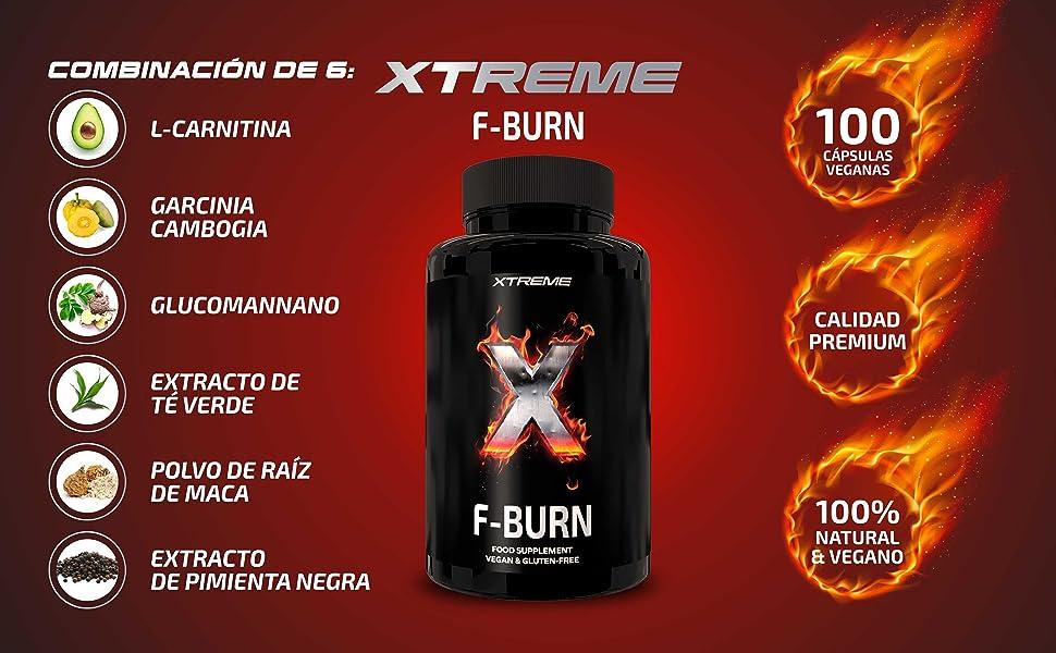 Xtreme F-burn | Quemagrasas Con Ingredientes 100% Naturales | 100 Píldoras Con La Potencia De La Maca Y La Garcinia | Píldoras Veganas Para Perder ...