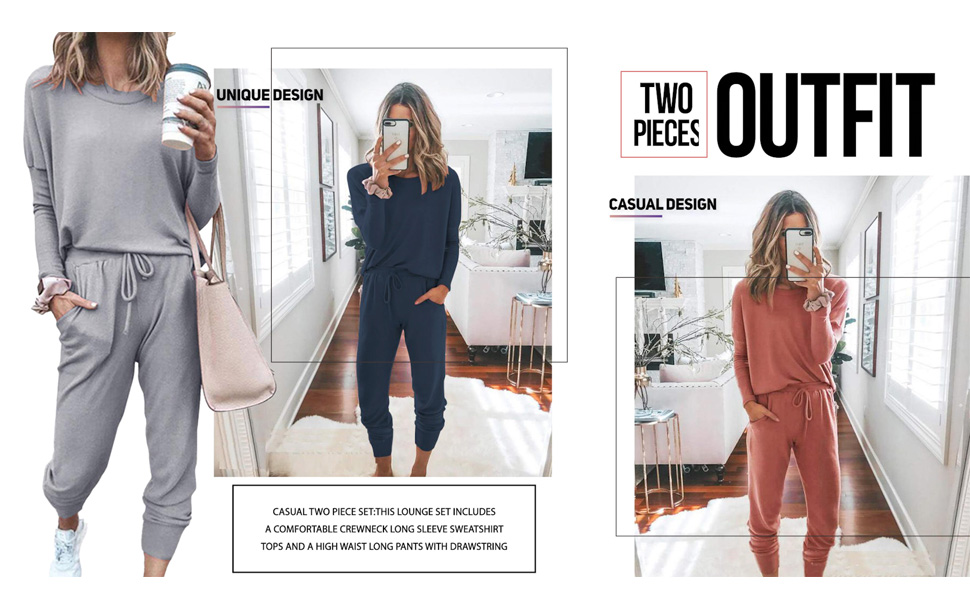 Simple Two Piece Active Wear Long Sleeve Outfits For Women Tracksuits Set