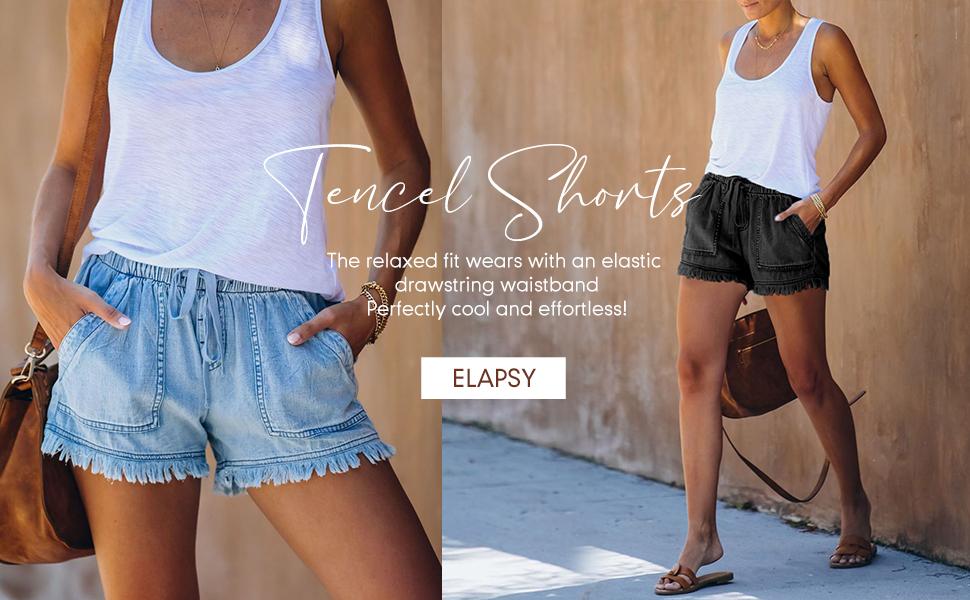 Comfy Drawstring Casual Elastic Waist Pocketed Shorts, Comfy Drawstring Casual Elastic