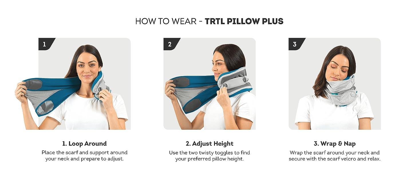 how to wear Trtl Pillow Plus