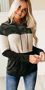 color block drawstring hooded sweatshirts