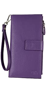 Womens Large Capacity Rfid Blocking Genuine Leather Wristlet Wallet Organizer By Mou Meraki