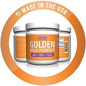 usa safe registered gmp organic gluten free golden milk powder turmeric curcumin tea latte plant