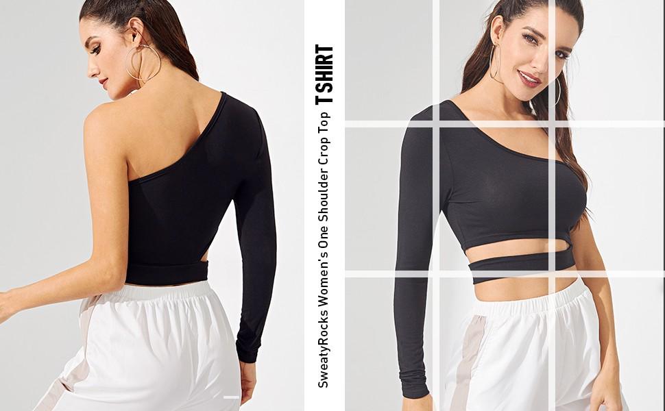 SweatyRocks Women's Cutout Waist Long Sleeve One Shoulder Crop Top T Shirt