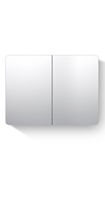 Bathroom Mirror Cabinets Stainless Steel Wall Mounted with Triple Mirrors 2 Doors Wall Storage