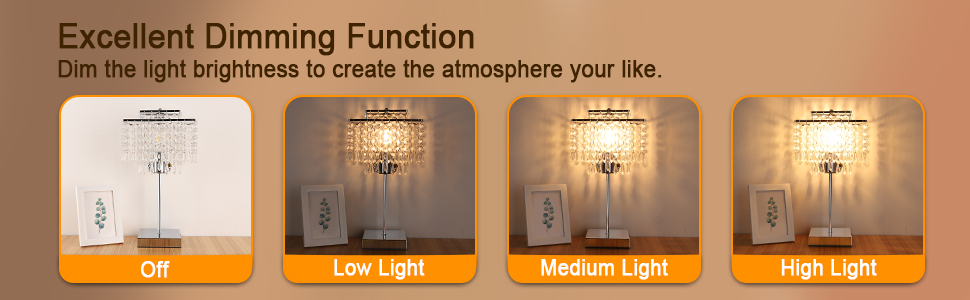 Dimmable crystal table lamp